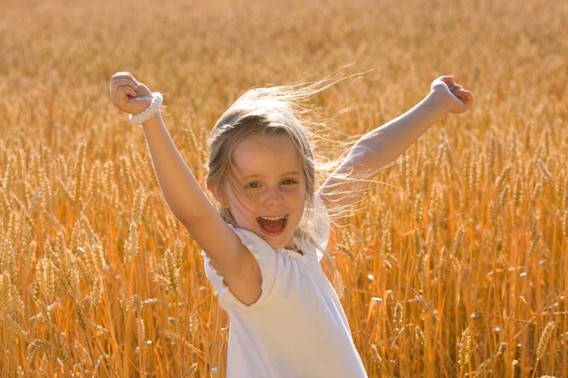 Little girl dance in golden wheat field